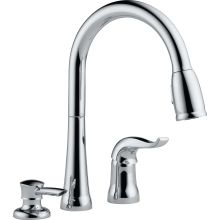 Kate Pullout Spray Kitchen Faucet with MagnaTite Docking, Diamond Seal and Touch Clean Technologies - Includes Soap Dispenser