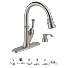 Savile Pullout Spray Kitchen Faucet with MagnaTite Docking and Diamond Seal Technologies - Includes Soap Dispenser
