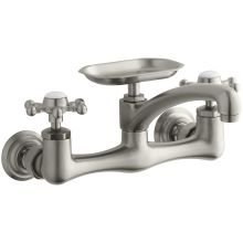 Wall Mount Kitchen Faucet with Metal Cross Handles and Soap Dish from the Antique Series