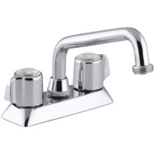 Coralais Double Handle Laundry Faucet with Threaded Spout and Blade Handles