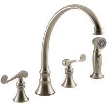 Revival Widespread High-Arch Gooseneck Kitchen Faucet - Includes Metal Scroll Handles and Sidespray