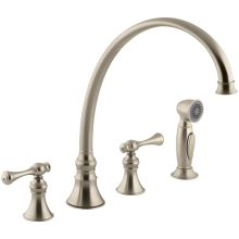 Revival High Arch Gooseneck Kitchen Faucet with Traditional Lever Handles and Sidespray
