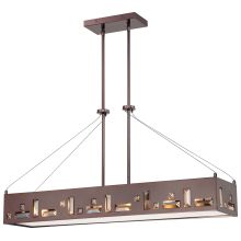 6 Light 1 Tier Linear Chandelier in Chocolate Chrome from the Bling Bang Collection
