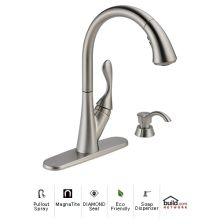 Ashton Pullout Spray Kitchen Faucet with MagnaTite Docking and Diamond Seal Technologies - Includes Soap Dispenser