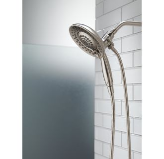 Delta-58469-PK-Installed In2ition Shower Head and Handshower in Brilliance Stainless