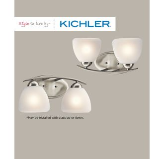 The Kichler Calleigh bathroom fixtures can be mounted up or down.