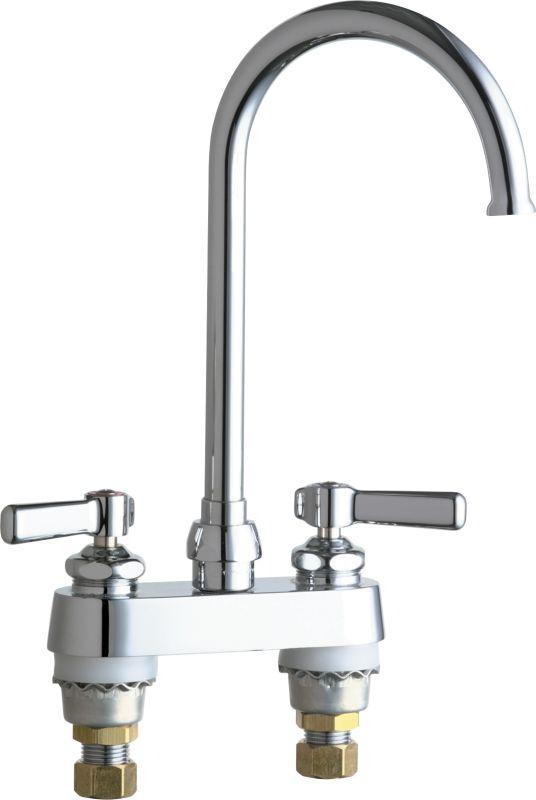 Chicago Faucets 895 Gn2fcabcp Chrome Commercial Grade Centerset Kitchen Faucet With Lever