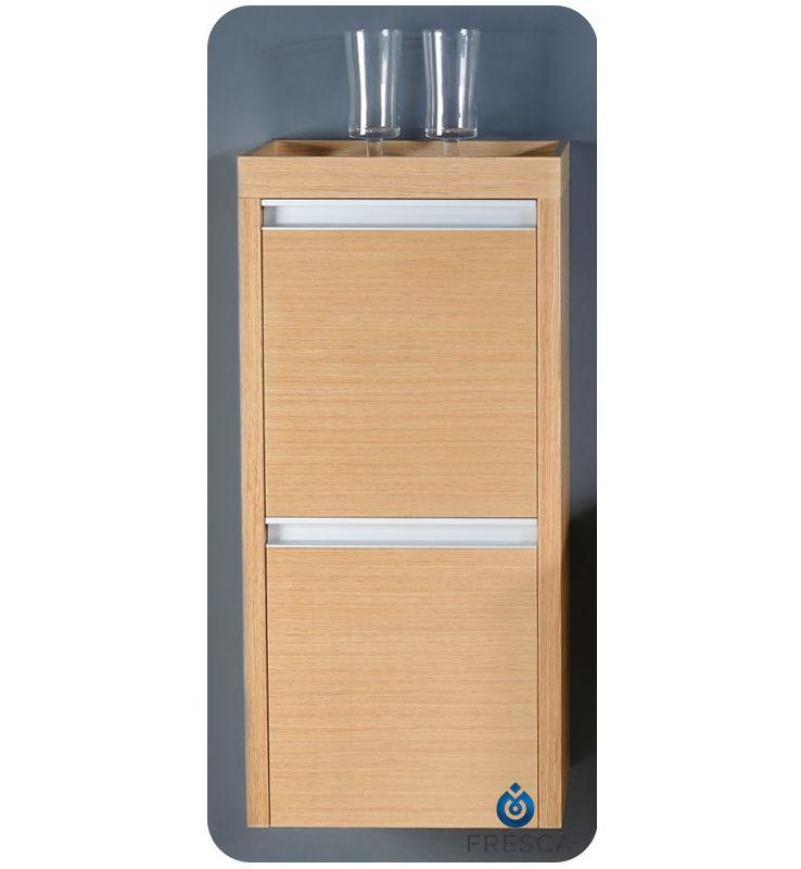 Fresca Fst3030lo Light Oak 33 Wall Mounted Bathroom Linen Cabinet With Two Doors