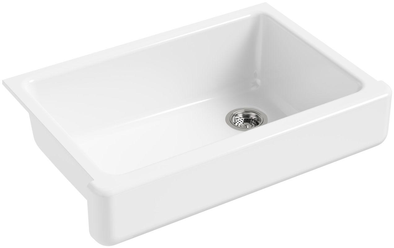 """Kohler K 5826 0 White Whitehaven 32 1 2"""" Single Basin Farmhouse Cast Iron Kitchen Sink with"""