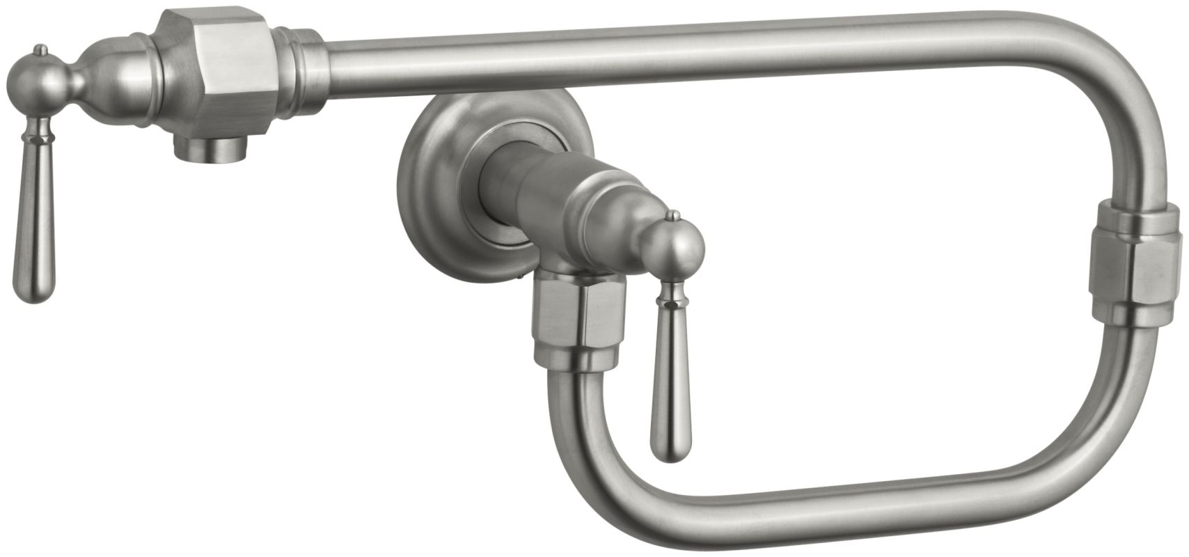 Faucet Direct : Kohler K-7322-4-BS Brushed Stainless Double Handle Wall Mounted Pot ...