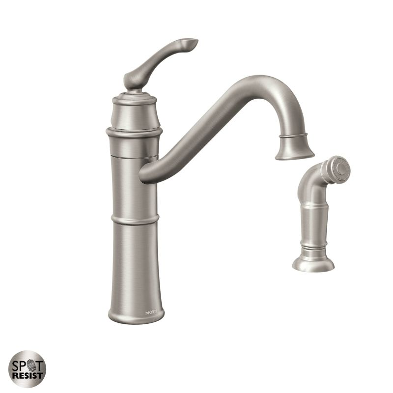 Moen 87999SRS Spot Resist Stainless High Arc Kitchen Faucet With Side Spray F