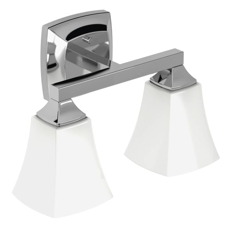 Moen YB5162CH Chrome Voss 14 Wide 2 Light Reversible Bathroom Vanity Li