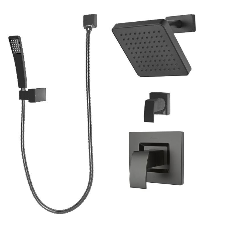 Pfister B89 7dfb Black Kenzo Shower System With Valve Trim