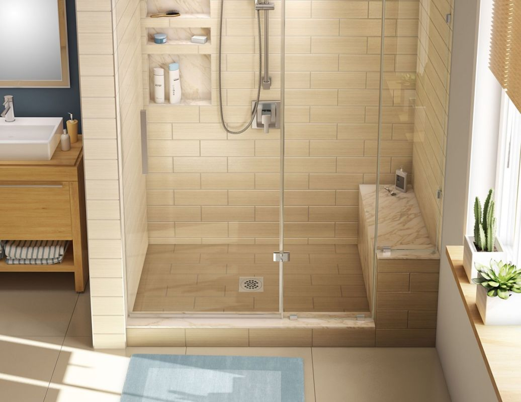 tile redi p3048c rb30 kit black 30 x 60 alcove shower pan with single curb bench and 2. Black Bedroom Furniture Sets. Home Design Ideas