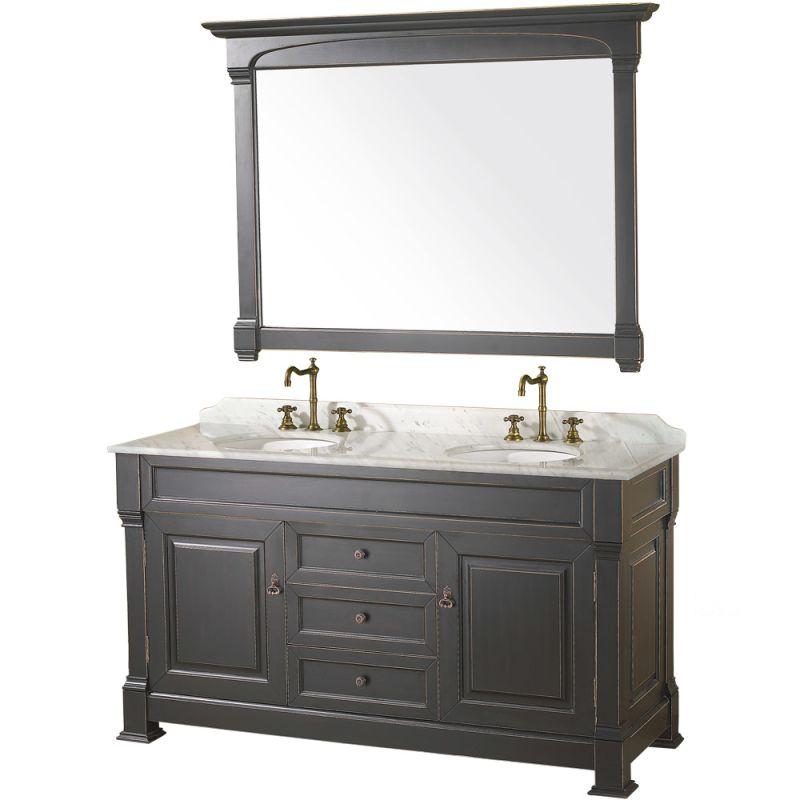 Dallas Bathroom Vanities: Wyndham Collection WCVTD60BLCW Antique Black / Carrera Top