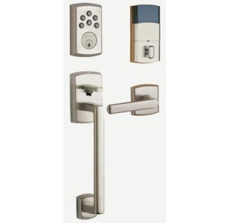 Baldwin Soho Electronic Deadbolt 8285.AC1 Paired with Baldwin Lower Handleset model number  85386.ACRH
