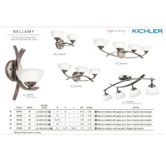 The Kichler Bellamy Collection in Antique Pewter from the Kichler Catalog.