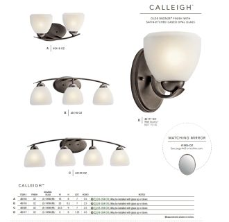 The Kichler Calleigh collection in Olde Bronze from the Kichler catalog.