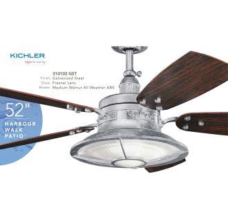 Kichler 310102gst Galvanized Steel 44 Quot Outdoor Ceiling Fan