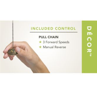 Included pull chain control (optional remote sold separately)