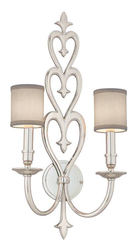 Corbett Lighting 160 12 Polished Nickel Heart Throb 2 Light Solid Brass Wall