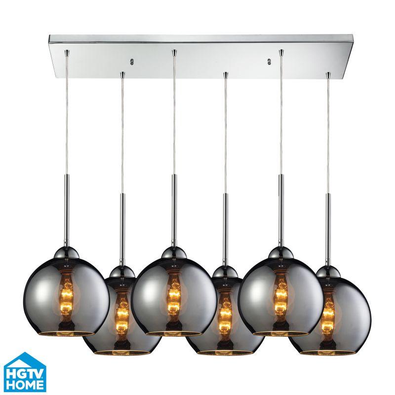 Hgtv Home Cassandra Blown Glass Mini Pendant Modern: Elk Lighting 10240/6RC-CHR Polished Chrome HGTV Home
