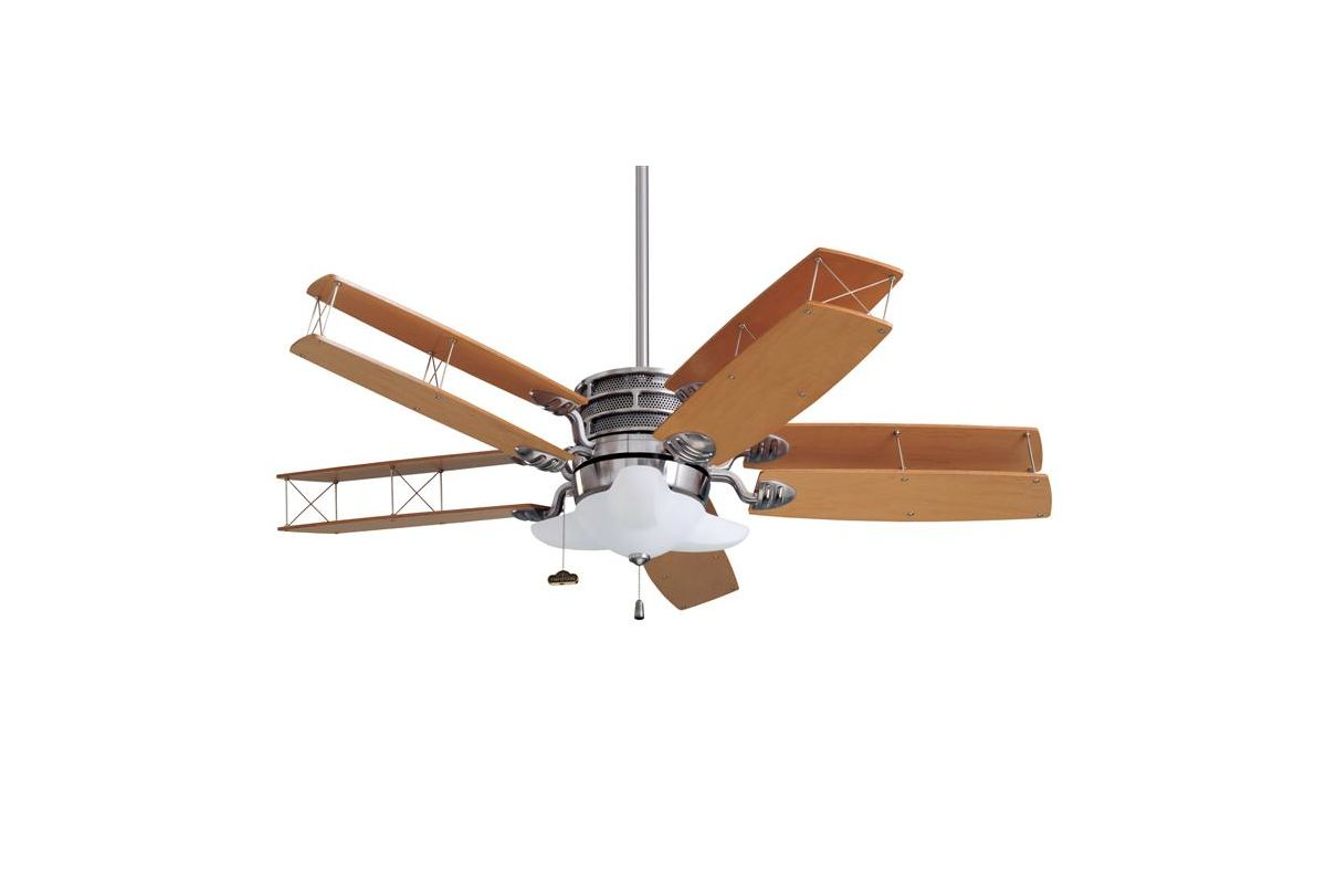 Airplane Style Ceiling Fans : Emerson cf bs brushed steel maple quot transitional bi