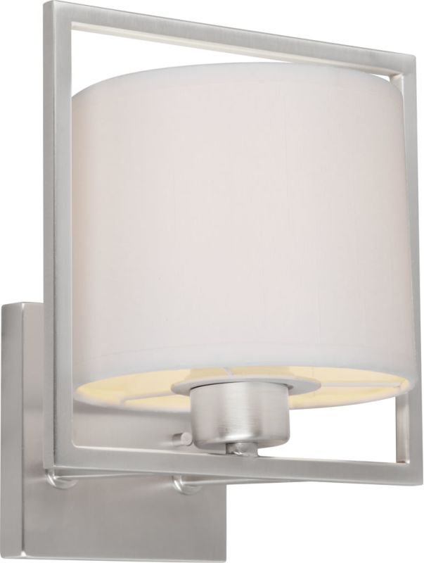 Wall Sconces With Drum Shade : Forte Lighting 5570-01-55 Brushed Nickel 1 Light Wall Sconce with Drum Shade - LightingDirect.com