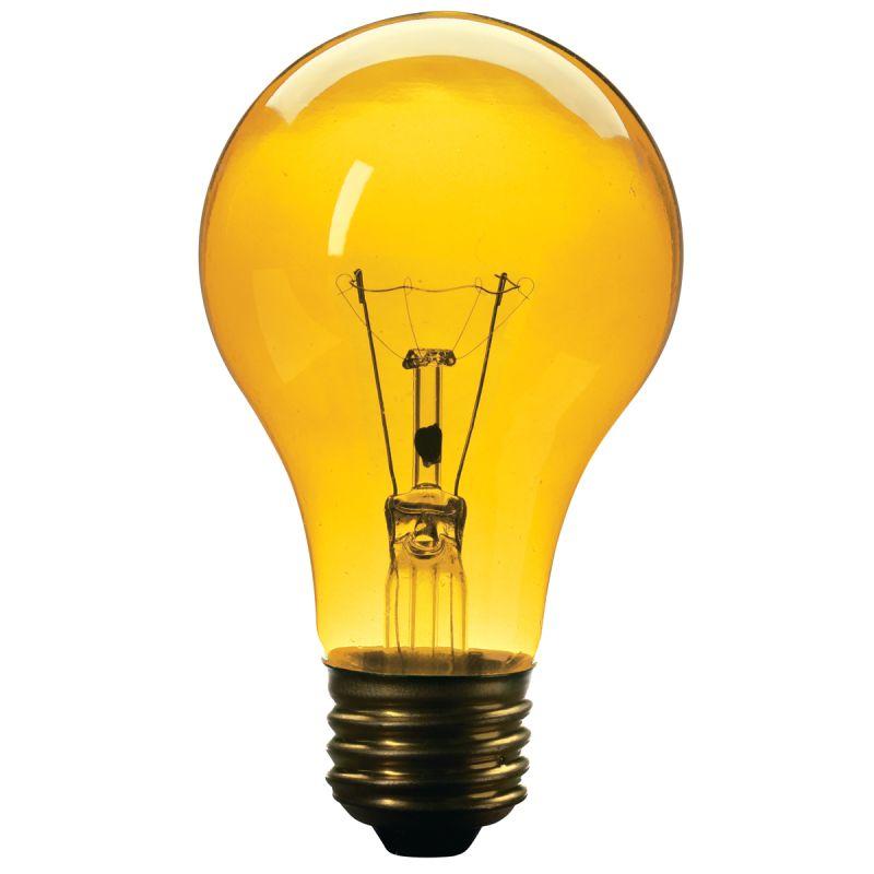 Globe Electric 2697501 Yellow 25 Watt A19 Incandescent Bug Light Bulb E26 Base
