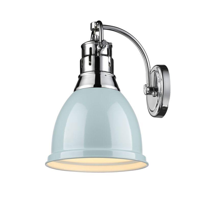 Golden Lighting 3602 1W CH SF Chrome Seafoam Duncan 1 Light Wid