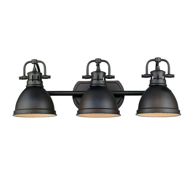 Extension For Vanity Light : Golden Lighting 3602-BA3 RBZ-RBZ Rubbed Bronze Duncan 3 Light Bathroom Vanity - 25 Inches Wide ...