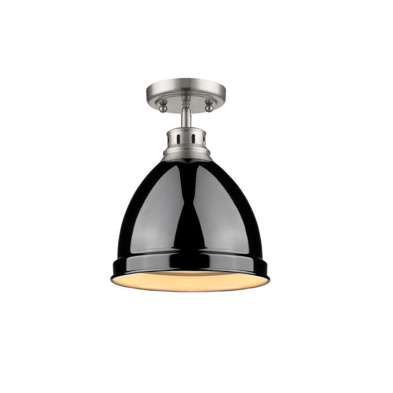 Golden Lighting 3602 FM PW BK Black Duncan 1 Light Semi