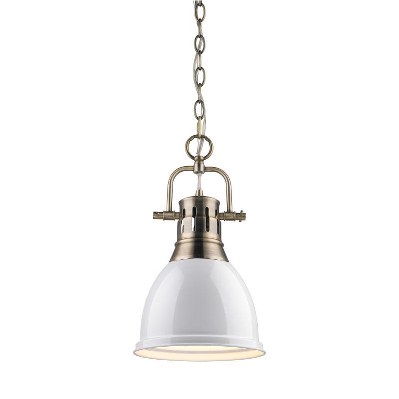 Golden Lighting 3602 S AB WH Aged Brass Duncan 1 Light Mini Pendant With Whit