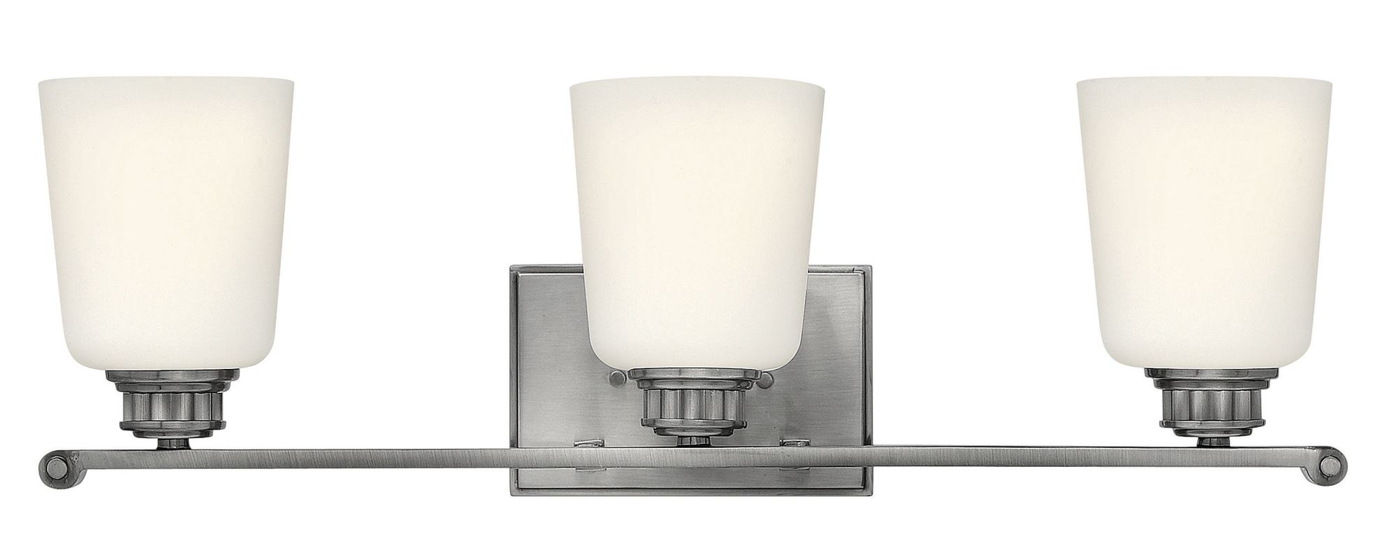 Bathroom Vanity Lights With Clear Glass Shades : Hinkley Lighting 53323PL Polished Antique Nickel 3 Light Bathroom Vanity Light with Frosted ...