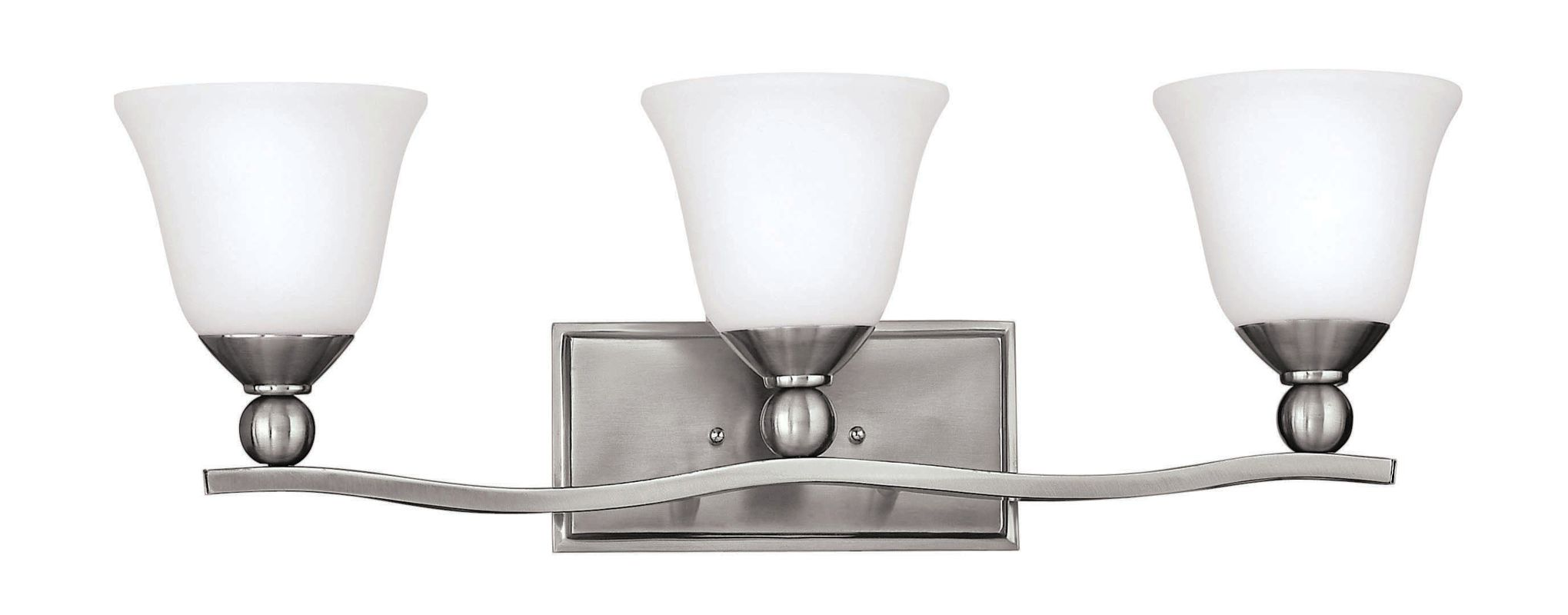 Hinkley lighting 5893bn gu24 brushed nickel 3 light 26 for Hinkley bathroom vanity lighting