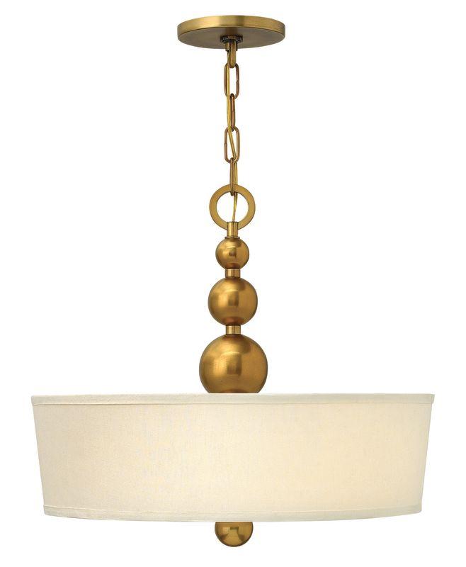 Hinkley Drum Lighting: Hinkley Lighting 3444VS Vintage Brass 3 Light Indoor Drum