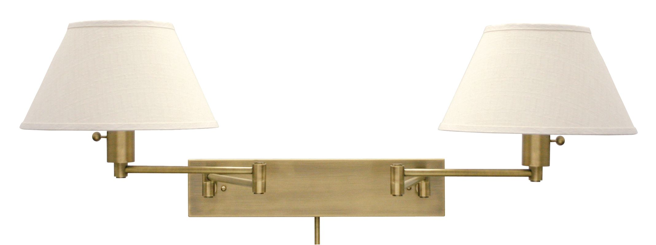 House of Troy WS14-2-71 Antique Brass / Off-White Linen Home / Office 2 Light Double Swing Arm ...