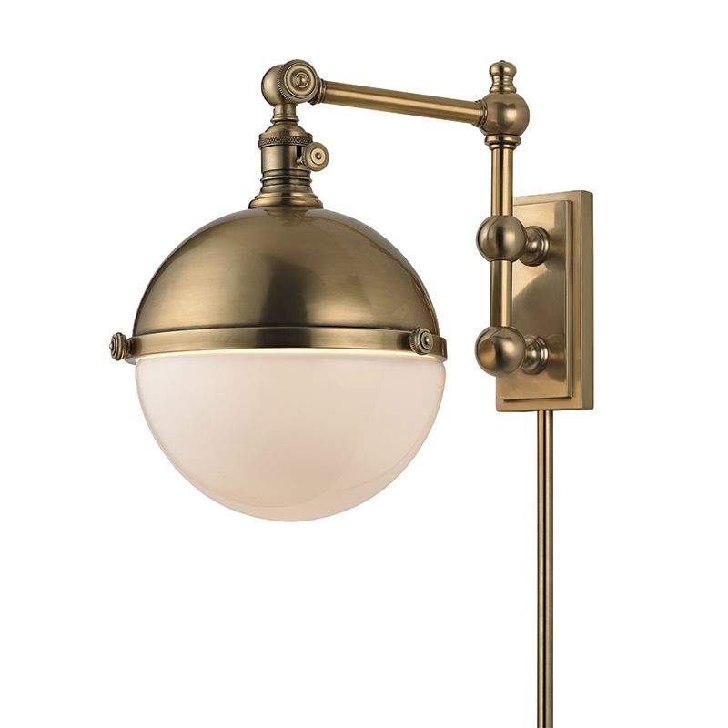 hudson valley lighting 1671 agb aged brass stanley single light 13. Black Bedroom Furniture Sets. Home Design Ideas