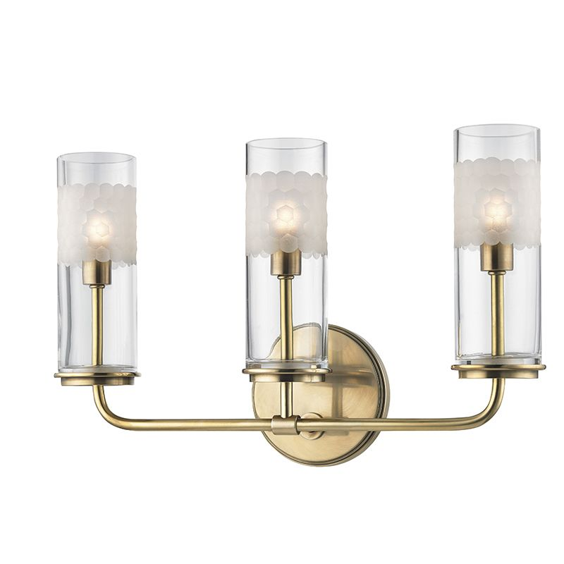Hudson Valley Lighting 3903-AGB Aged Brass Wentworth 3 Light ADA Compliant 10u0026quot; Tall Wall Sconce ...