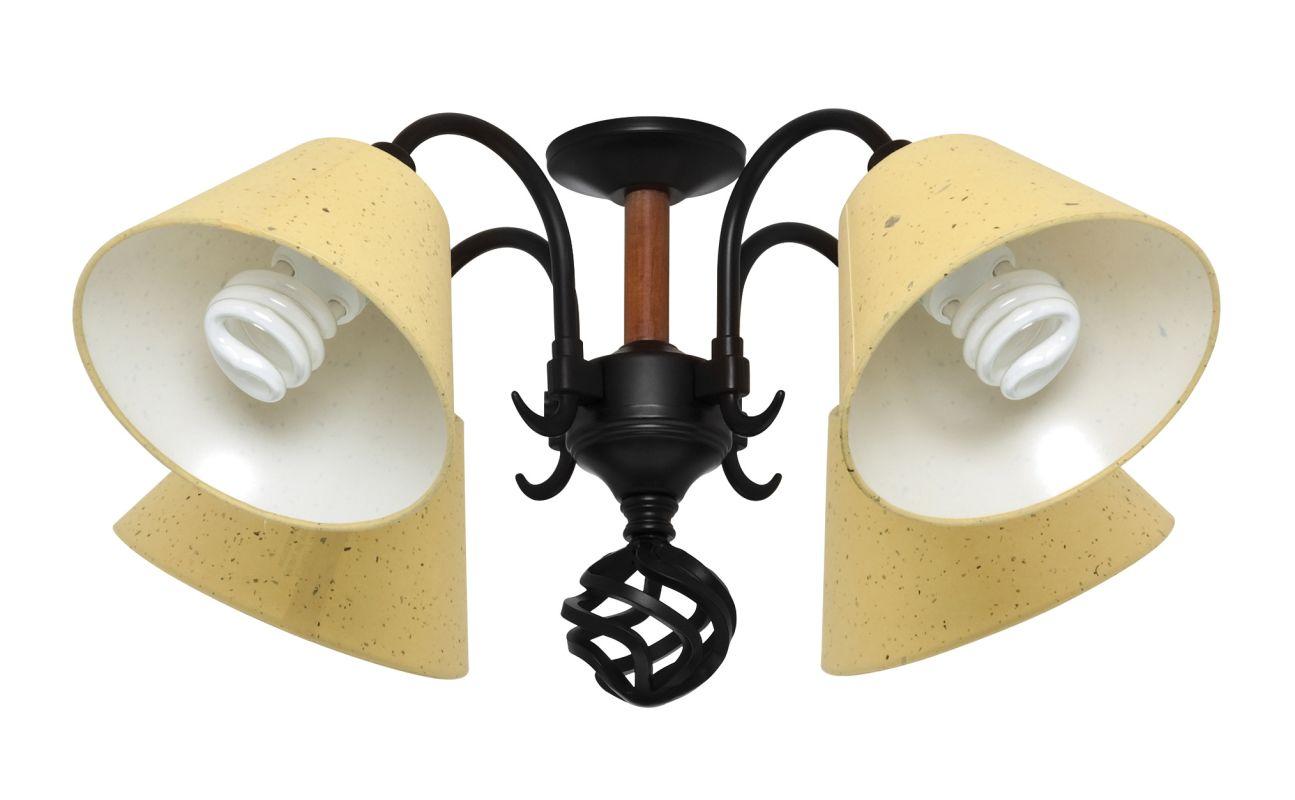 Hunter 28008 black wrought iron four light ceiling fan light kit - Black iron ceiling fan ...