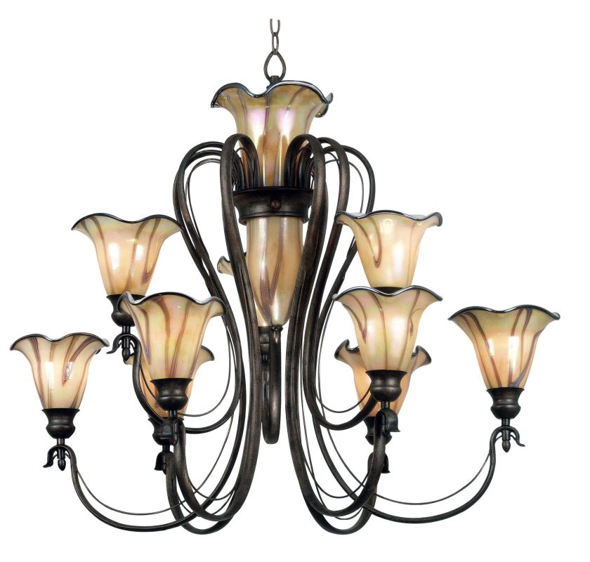 Kenroy Home 90899ts Tuscan Silver Inverness 9 Light 2 Tier