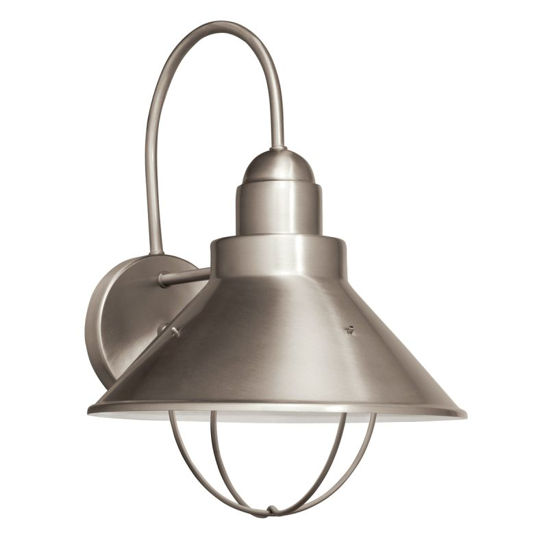 Fluorescent Exterior Wall Lights : Kichler 11099NI Brushed Nickel Seaside 1 Light 14