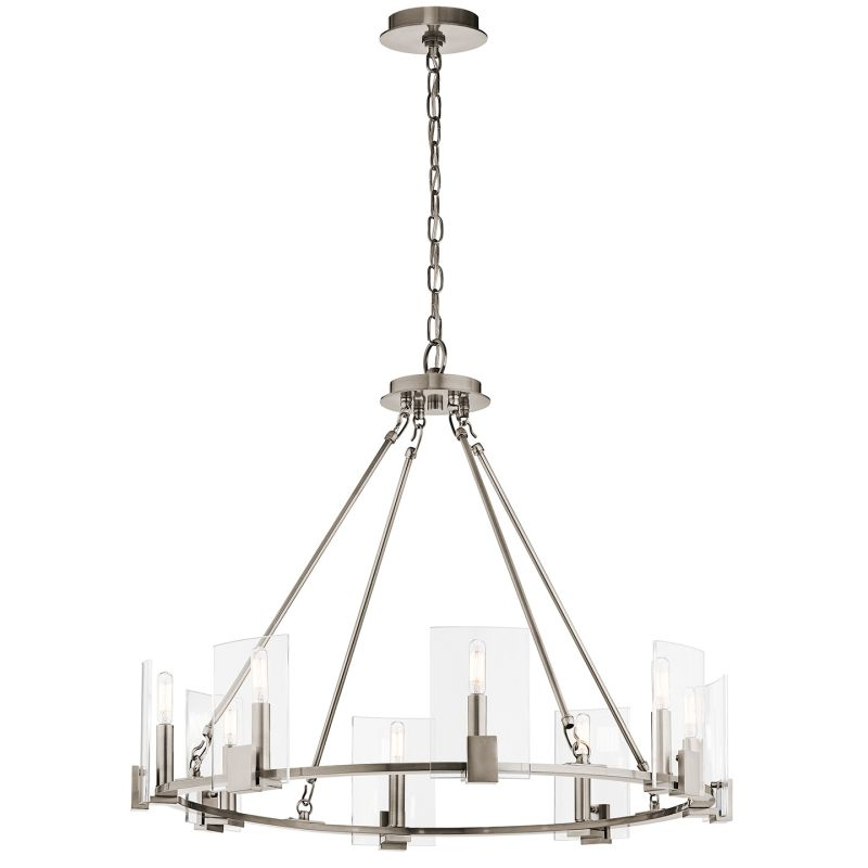kichler 43702clp classic pewter signata 8 light 30 u0026quot  wide chandelier with glass shades