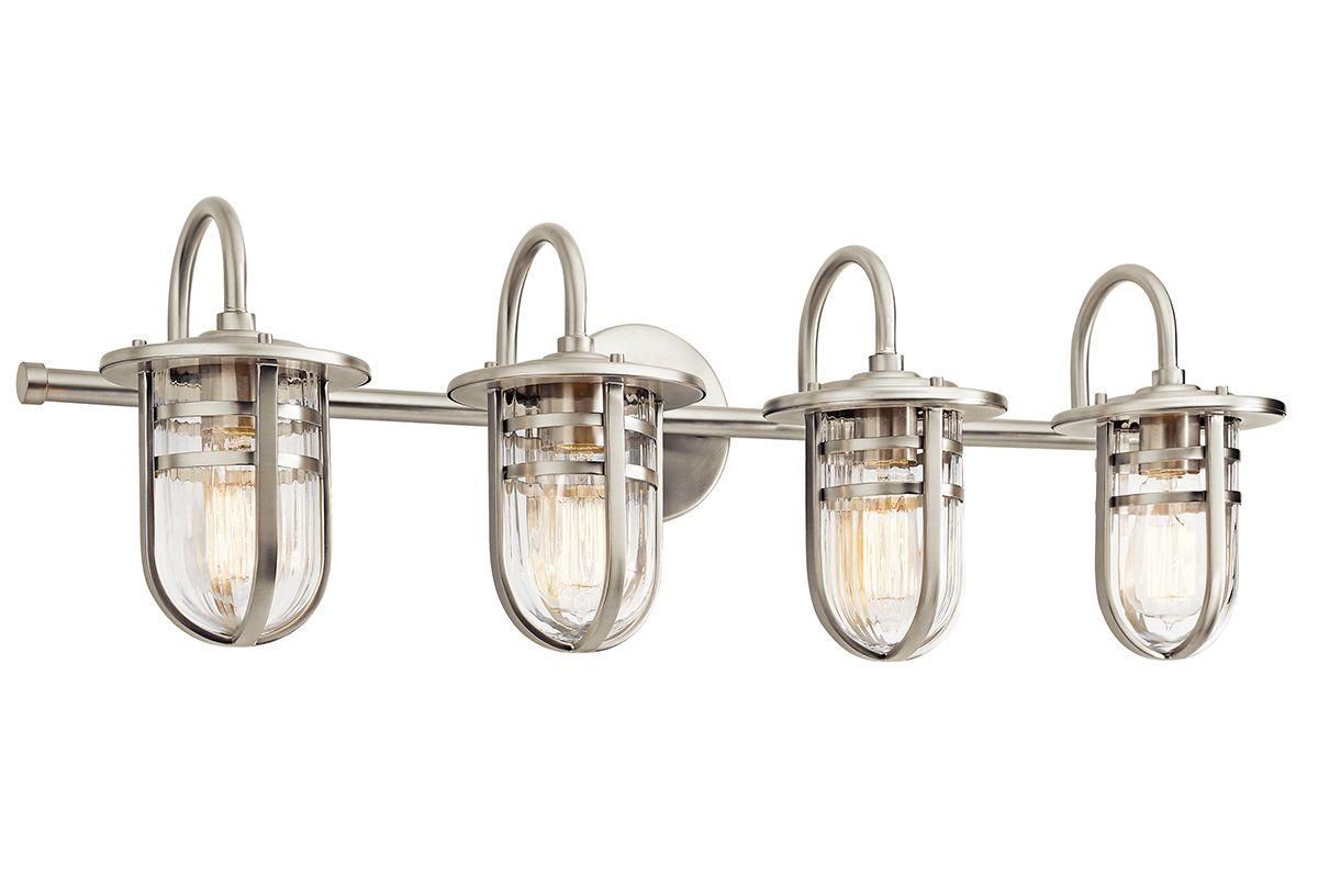 "Capital Lighting 4 Light Vanity Fixture Brushed Nickel: Kichler 45134NI Brushed Nickel Caparros 32"" Wide 4 Light"