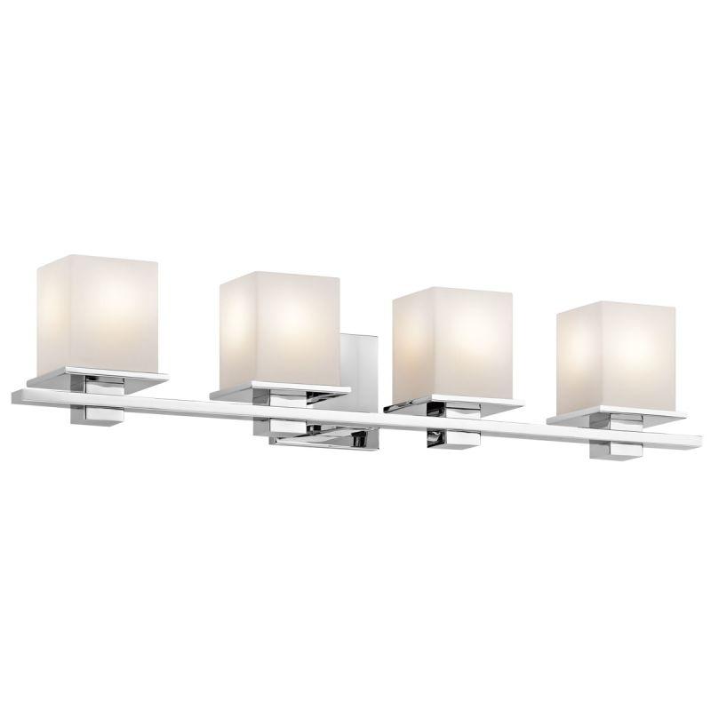 Bathroom Vanity Light Glass Shades : Kichler 45152CH Chrome Tully 4 Light 32