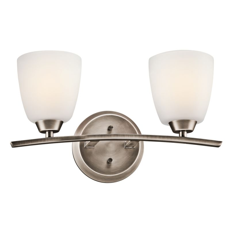 Kichler 45359BPT Brushed Pewter Granby Wide 2 Bulb Bathroom Light