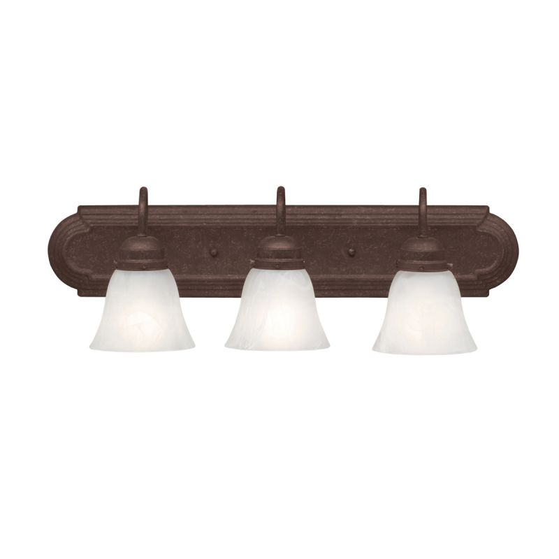 Kichler 5337tz Tannery Bronze 3 Light 24 Wide Vanity Light Bathroom Fixture With Etched Glass
