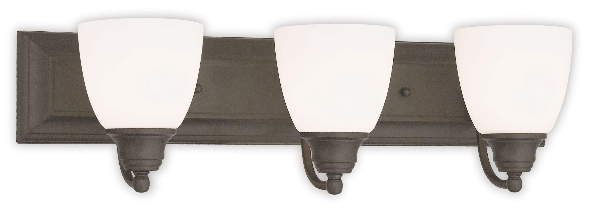 Blown Glass Vanity Light : Livex Lighting 10503-07 Bronze Springfield 3 Light Vanity Light with Hand-Blown Glass Shades ...