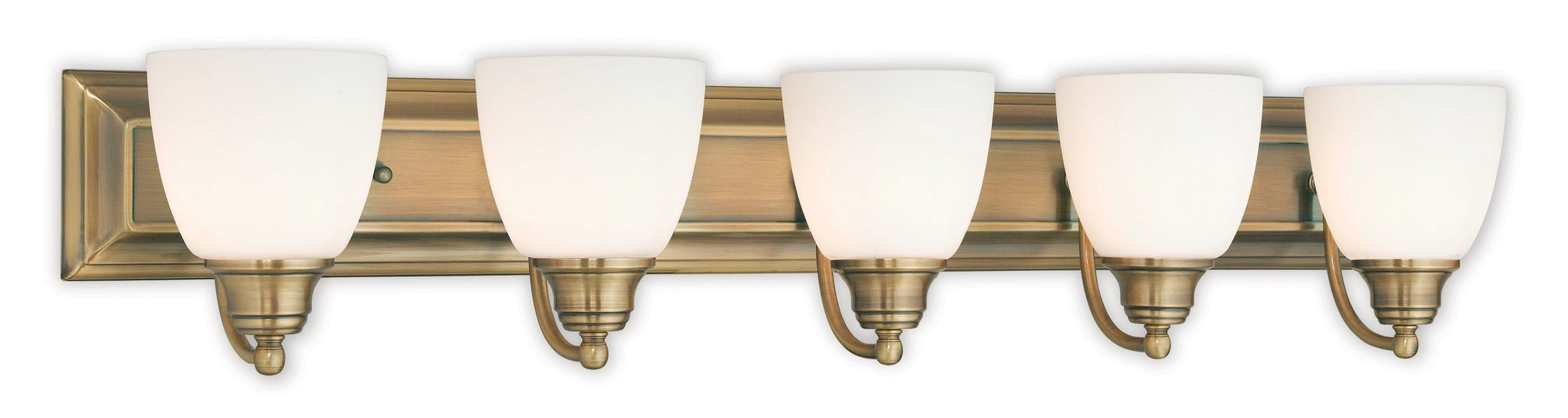 Blown Glass Vanity Light : Livex Lighting 10505-01 Antique Brass Springfield 5 Light Vanity Light with Hand-Blown Glass ...