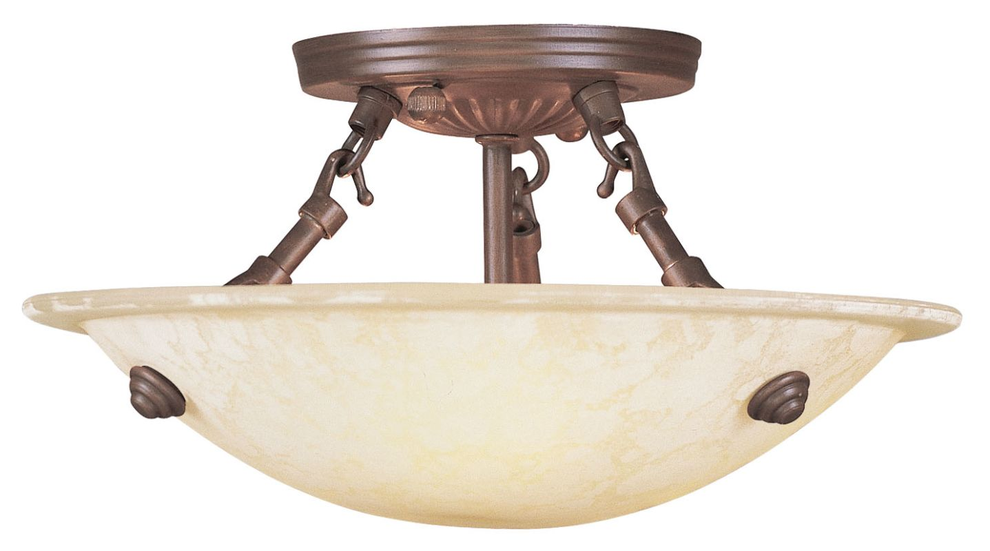 Livex Lighting Two Eight Imperial Bronze Oasis Three Light Semi Flush Ceiling Fixture Lightingdirect Com
